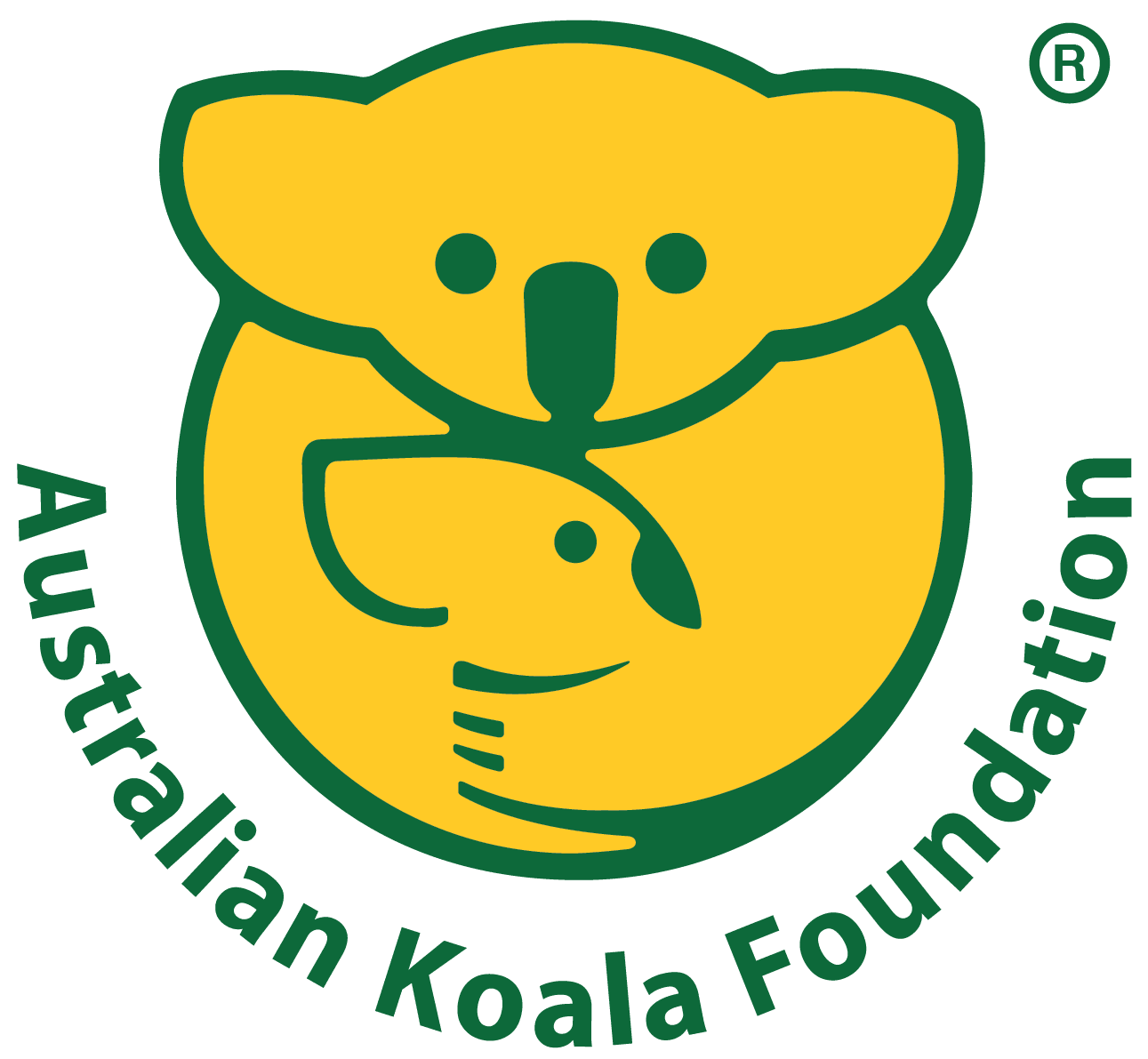 Yellow and green image of koala and young koala, green text Austrailian Koala Foundation